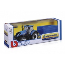 Traktor Bburago 1:32 New Holland s vlekem kov/plast 3 druhy v krabici 36,5x13x11cm