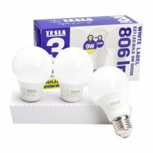 BL271030-3PACK Tesla - LED žárovka BULB E27, 9W, 230V, 806lm, 25 000h, 3000K teplá bílá, 220° 3ks v balení