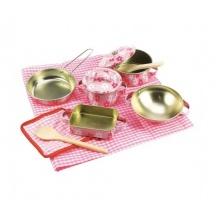 Bigjigs Toys Růžový kuchařský set nádobí s kytičkami