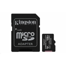 SDCS2/128GB Kingston - paměťová karta 128GB Micro SDXC Canvas Select Plus 100R A1 C10 Card + SD adaptér