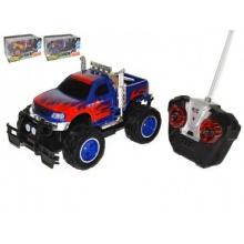 Auto RC terénní plast 25cm na baterie se světlem asst 2 barvy v krabici 34x18x17cm