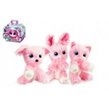 Zvířátko FUR BALLS plyš Touláček pejsek/kočka/králík růžový s doplňky v krabici 24x20x10cm
