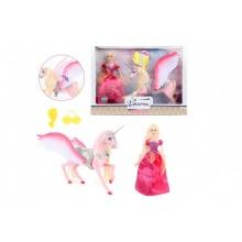 Panenka princezna a jednorožec 32cm s křídly plast s doplňky v krabici 44x32x9cm