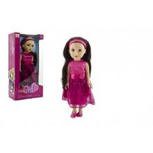 Panenka nemrkací plast stojící rovné hnědé vlasy, růžové šaty 46cm v krabici 24x49x13cm