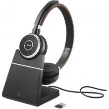 EVOLVE-65-STEREO-STAND-MS Jabra - bezdrátová náhlavní souprava pro PC, Bluetooth, USB, NFC, spona přes hlavu, na obě uši