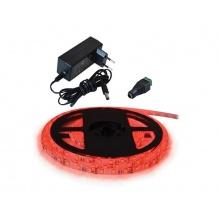 LED pásek sada 1m 12V 3528 60LED/m IP20 4.8W/m červená +zdroj