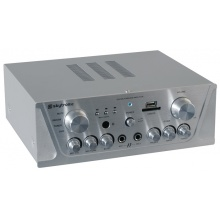 Skytronic AV420S, karaoke zesilovač FM/USB/SD, stříbrný