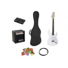 Dimavery EGS-10X elektrická kytara bílá, set