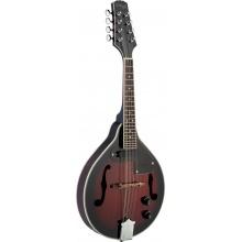 Stagg M50 E, elektroakustická bluegrassová mandolína, stínovaná červená