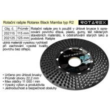 Rotační rašple Rotarex Black Mamba R2 / 125mm