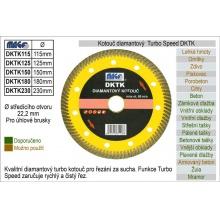 Kotouč diamantový turbo-speed pro úhlové brusky DKT230