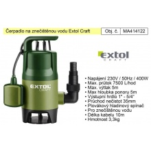 Čerpadlo elektrické kalové 400 W 7500 l / hod Extol  414122
