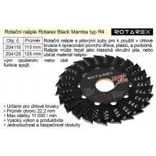 Rotační rašple Rotarex Black Mamba R4 / 115mm