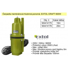 Čerpadlo membránové hlubinné 600 W  2000 l / hod.  Extol 414175