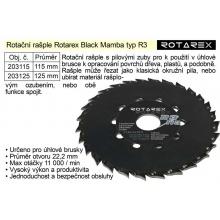 Rotační rašple Rotarex Black Mamba R3 / 115mm