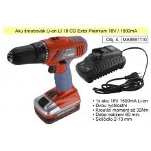 Aku šroubovák 18 V / 1500 Ah  Li-On Extol Premium 8891110