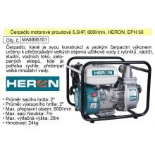 Čerpadlo motorové proudové 5,5HP, 600l/min, HERON, EPH 50