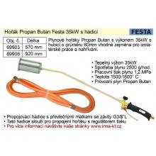 FESTA Plynový hořák na Propan Butan pr.55mm, 570mm, hadice 3m