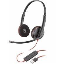 BLACKWIRE-C3320-USB-A Poly (Plantronics) - náhlavní souprava pro PC na obě uši, spona přes hlavu, tl. přijmu, USB