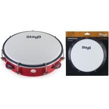 Stagg TAB-108P/RD, laditelná tamburína s blánou, 8