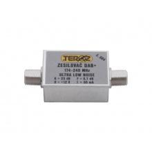 Anténní zesilovač Teroz 604X, nízkošumový, DAB, G23dB, F0,7dB, U>120dBμV, F-F