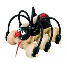 Dětský tahací černý pavouk DETOA dřevěný 11 cm