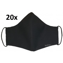 KATCH 20x Dámská / dětská ručně šitá rouška - černá, dvouvrstvá bavlněná