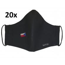 KATCH 20x Dámská / dětská ručně šitá rouška s vlajkou ČR - černá, dvouvrstvá bavlněná