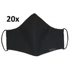 KATCH 20x Pánská ručně šitá rouška - černá, dvouvrstvá bavlněná