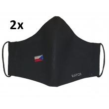 KATCH 2x Dámská / dětská ručně šitá rouška s vlajkou ČR - černá, dvouvrstvá bavlněná
