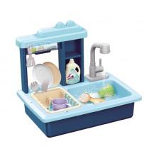 Dětský dřez na mytí nádobí TEDDIES s kohoutkem na vodu modrý