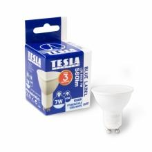 GU100760-7 Tesla - LED žárovka GU10, 7W, 230V, 560lm, 25 000h, 6500K studená bílá, 110°