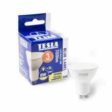 GU100830-7 Tesla - LED žárovka GU10, 8W, 230V, 720lm, 25 000h, 3000K teplá bílá, 100°