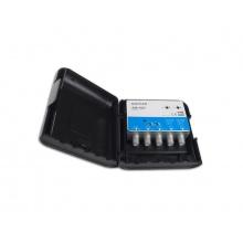 Anténní zesilovač ALCAD AM487, na stožár, 1xFM G20dB, 1xDAB G20dB, 2xUHF G32dB, filtr 5G, U108dBµV