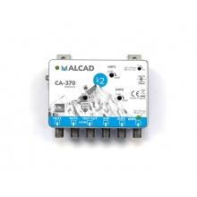 Anténní zesilovač ALCAD CA370, malý domovní, 1 x (VHF I, FM, DAB) G18 až 28dB, 2 x UHF G38dB