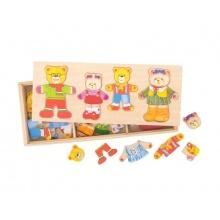 Dětské oblékací puzzle BIGJIGS TOYS Medvědí rodinka dřevěné