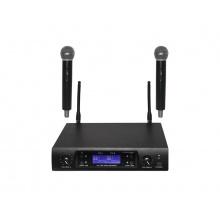 Mikrofon bezdrátový SHOW D-899R/U-299H*2, dvoukanálová sada, UHF