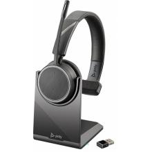 VOYAGER-4210-USB-A-STAND Plantronics - bezdrátová bluetooth náhlavní souprava na jedno ucho, pro mobil a PC, USB-A