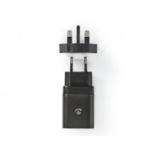 Cestovní adaptér USB NEDIS WCPD18WU102BK pro použití z ČR ve Velké Británii