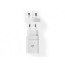 Cestovní adaptér USB NEDIS WCPD18WU102WT pro použití z ČR ve Velké Británii